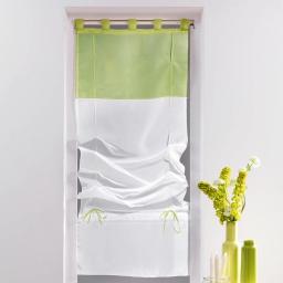 Store droit a passants 60 x 180 cm voile bicolore duo Blanc/Amande