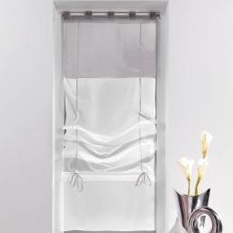 Store droit a passants 60 x 180 cm voile bicolore duo Blanc/Gris