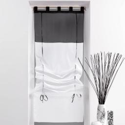 Store droit a passants 60 x 180 cm voile bicolore duo Blanc/Noir