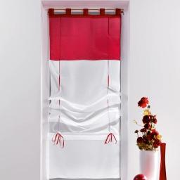 Store droit a passants 60 x 180 cm voile bicolore duo Blanc/Rouge