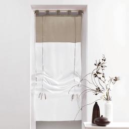 Store droit a passants 60 x 180 cm voile bicolore duo Blanc/Taupe