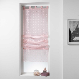 Store droit a passants 60 x 180 cm voile sable pompons pomponi Rose