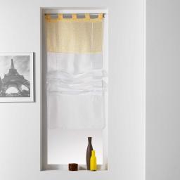 Store droit a passants 60 x 180 cm voile uni+top imprime tunis Jaune
