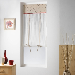 Store droit passe tringle 60 x 150 cm voile rayures+top imprime pauline Rouge