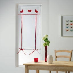 Store droit passe tringle 60 x 160 cm voile+top brode opaline Rouge