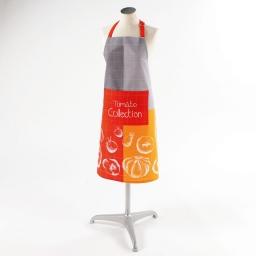 Tablier 70x85 +poche coton imprime tomato Orange