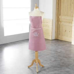 Tablier +poche 60 x 80 cm polyester brode bonheur Rose/Blanc