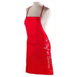 Tablier +poche 60 x 84 cm coton cuistot Rouge
