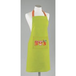 Tablier +poche 60 x 84 cm coton imprime abricots Vert