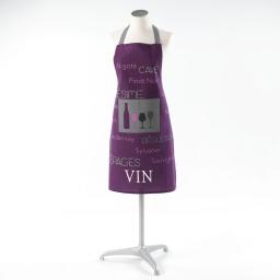 Tablier +poche 60 x 84 cm coton imprime cave a vin Violet