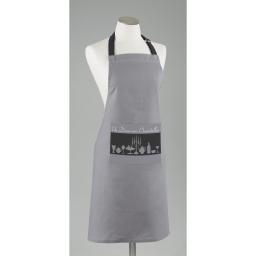 Tablier +poche 60 x 84 cm coton imprime chandelle Gris