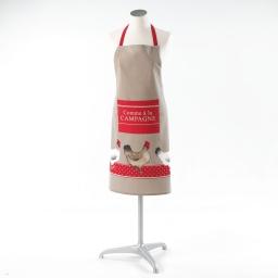 Tablier +poche 60 x 84 cm coton imprime coquette Taupe