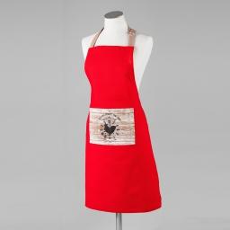 Tablier +poche 60 x 84 cm coton imprime la ferme  d/p Rouge