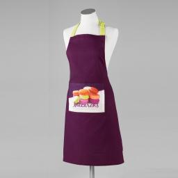 Tablier +poche 60 x 84 cm coton imprime macarons  d/p Prune