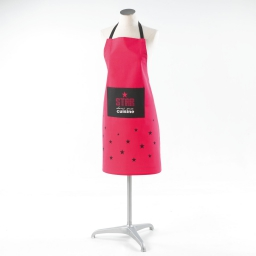 Tablier +poche 60 x 84 cm coton imprime pink star Rose