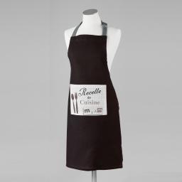 Tablier +poche 60 x 84 cm coton imprime recette  d/p Noir