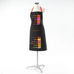 Tablier +poche 60 x 84 cm coton imprime saveur delice Noir