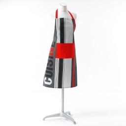 Tablier +poche 60 x 84 cm coton imprime top cuisine Gris