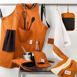 Tablier +poche 60 x 84 cm polycoton imprime diner menu Orange