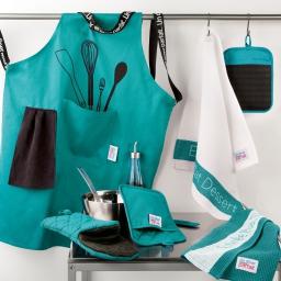 Tablier +poche 60 x 84 cm polycoton imprime diner menu Turquoise