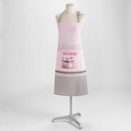 Tablier +poche 70 x 85 cm coton imprime delicia Rose