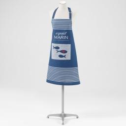 tablier +poche 70 x 85 cm coton imprime esprit marin