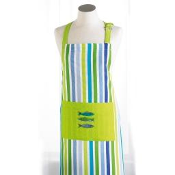 Tablier +poche 70 x 85 cm coton imprime sardinades Vert