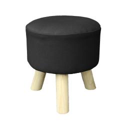 Tabouret (0) 32 cm x ht 36 cm coton uni prince Noir