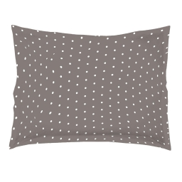 Taie d'oreiller volant plat 50 x 70 cm imprime 57 fils allover pixa Taupe/Blanc