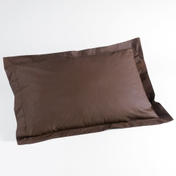 Taie d'oreiller volant plat 50 x 70 cm uni 57 fils lina Chocolat