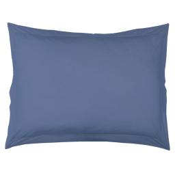 Taie d'oreiller volant plat 50 x 70 cm uni 57 fils lina  + point bourdon Azur