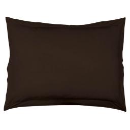 Taie d'oreiller volant plat 50 x 70 cm uni 57 fils lina  + point bourdon Cacao