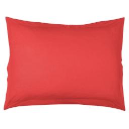 Taie d'oreiller volant plat 50 x 70 cm uni 57 fils lina  + point bourdon Corail