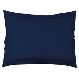 Taie d'oreiller volant plat 50 x 70 cm uni 57 fils lina  + point bourdon Marine