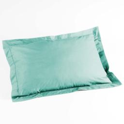 Taie d'oreiller volant plat 50 x 70 cm uni 57 fils lina  +point bourdon Menthe