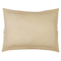 Taie d'oreiller volant plat 50 x 70 cm uni 57 fils lina  + point bourdon Sable
