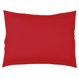 Taie d'oreiller volant plat 50 x 70 cm uni 57 fils lina  + pt bourdon Coquelicot
