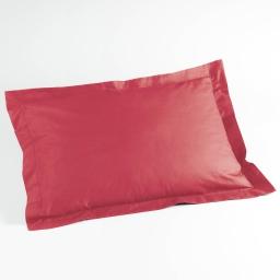 Taie d'oreiller volant plat 50 x 70 cm uni 57 fils lina Rouge