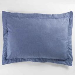 Taie d'oreiller volant plat 50x70 cm polycoton uni actually  +point bourdon Bleu