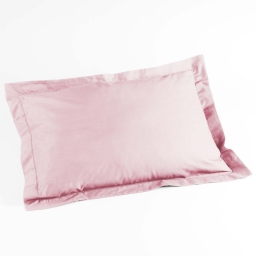 Taie d'oreiller volant plat 50x70 cm uni 57 fils lina  +point bourdon Rose clair