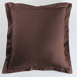 Taie d'oreiller volant plat 63 x 63 cm uni 57 fils lina Chocolat
