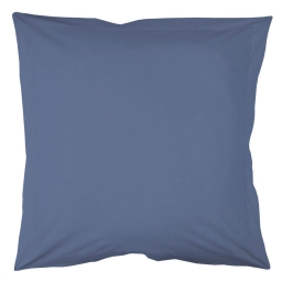 Taie d'oreiller volant plat 63 x 63 cm uni 57 fils lina  + point bourdon Azur