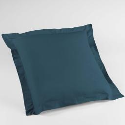 Taie d'oreiller volant plat 63 x 63 cm uni 57 fils lina  +point bourdon Bleu nuit
