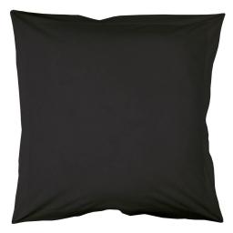 Taie d'oreiller volant plat 63 x 63 cm uni 57 fils lina  + point bourdon Charbon
