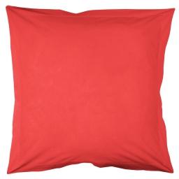 Taie d'oreiller volant plat 63 x 63 cm uni 57 fils lina  + point bourdon Corail