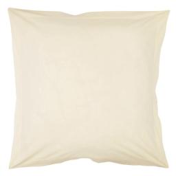 Taie d'oreiller volant plat 63 x 63 cm uni 57 fils lina  + point bourdon Ivoire