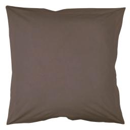 Taie d'oreiller volant plat 63 x 63 cm uni 57 fils lina  + point bourdon Noisette