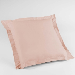 Taie d'oreiller volant plat 63 x 63 cm uni 57 fils lina  +point bourdon Nude