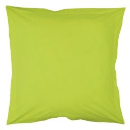Taie d'oreiller volant plat 63 x 63 cm uni 57 fils lina  + point bourdon Pistache