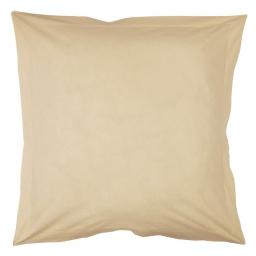 Taie d'oreiller volant plat 63 x 63 cm uni 57 fils lina  + point bourdon Sable